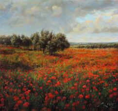 Landscape painting of Poppies in Spain