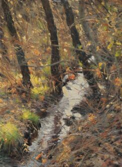Stream, Willows and Brambles painting