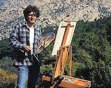 Manuel Sosa Pintando en la sierra de Guadarrama