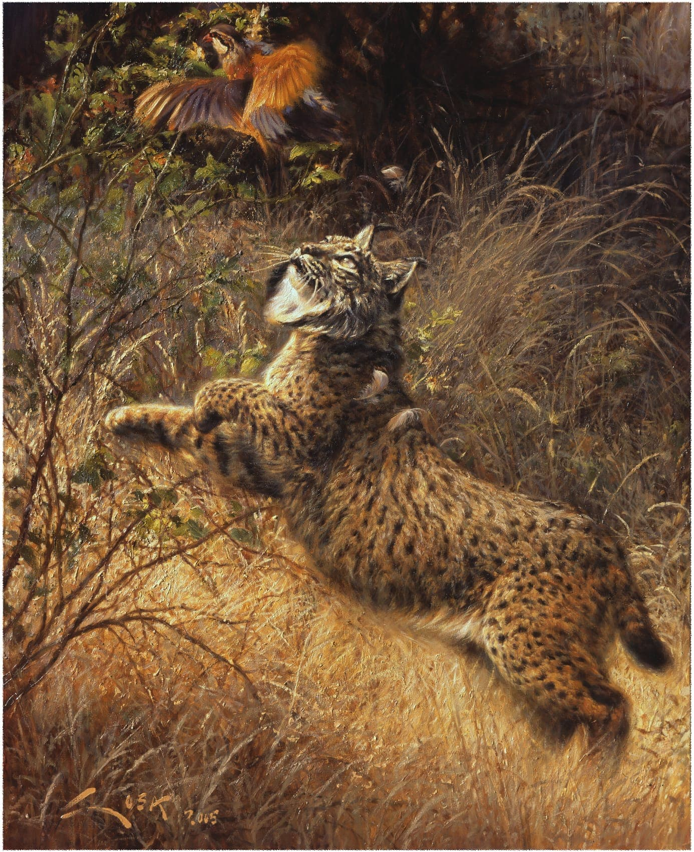Painting of Iberian Lynx and Red Partridge