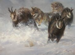 Painting of wolves and chamois