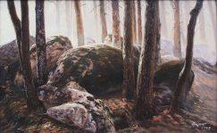 Pine forest landscape painting