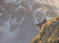 Painting of a Chamois in the mountain