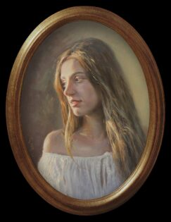 Painting portrait of a girl, by Manuel Sosa