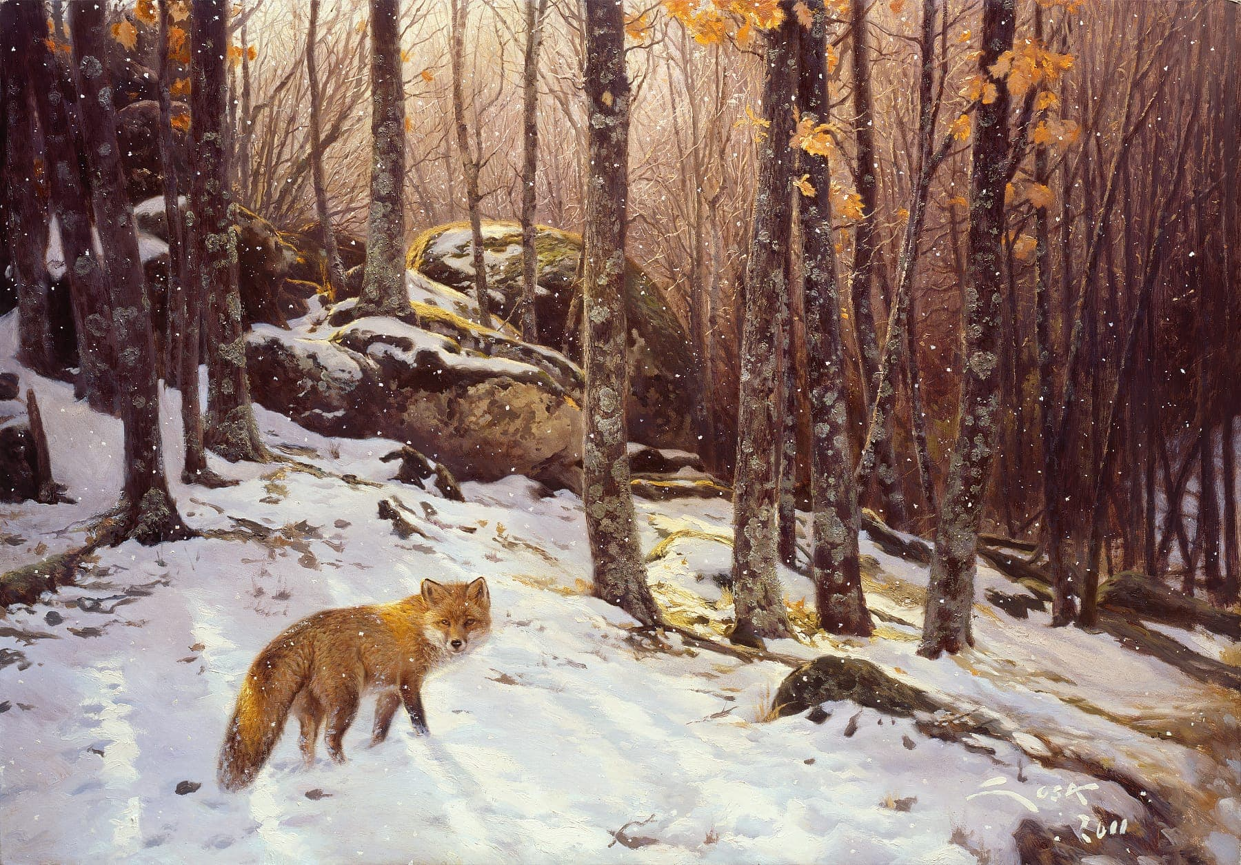 Painting of a red fox in the forest